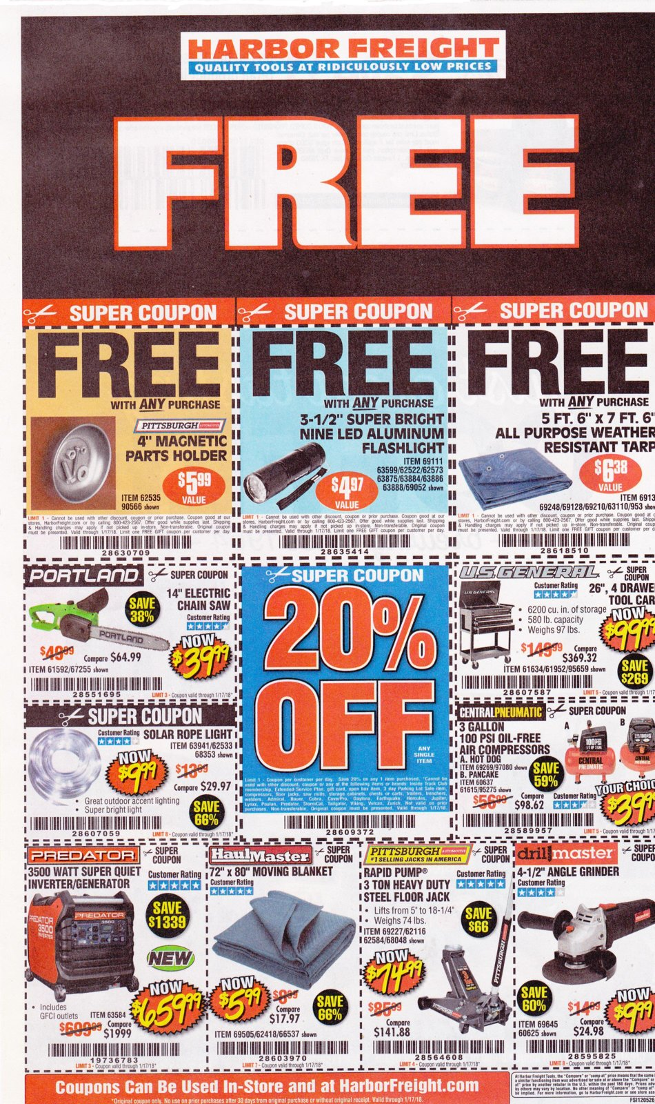 Harbor Freight coupons which expire on 1-17-2018..jpg