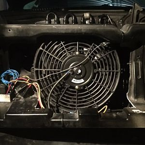 attached fan and thermostat to upgraded trans cooler