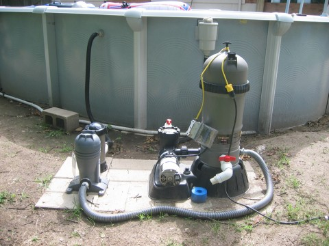 Above ground pool filter and sanitizer(s)